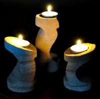 The Wave, Three Piece Carved Sandstone Candle Holder Set