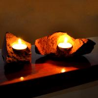 Fire, Two Piece Red Sandstone Candle Holder Set